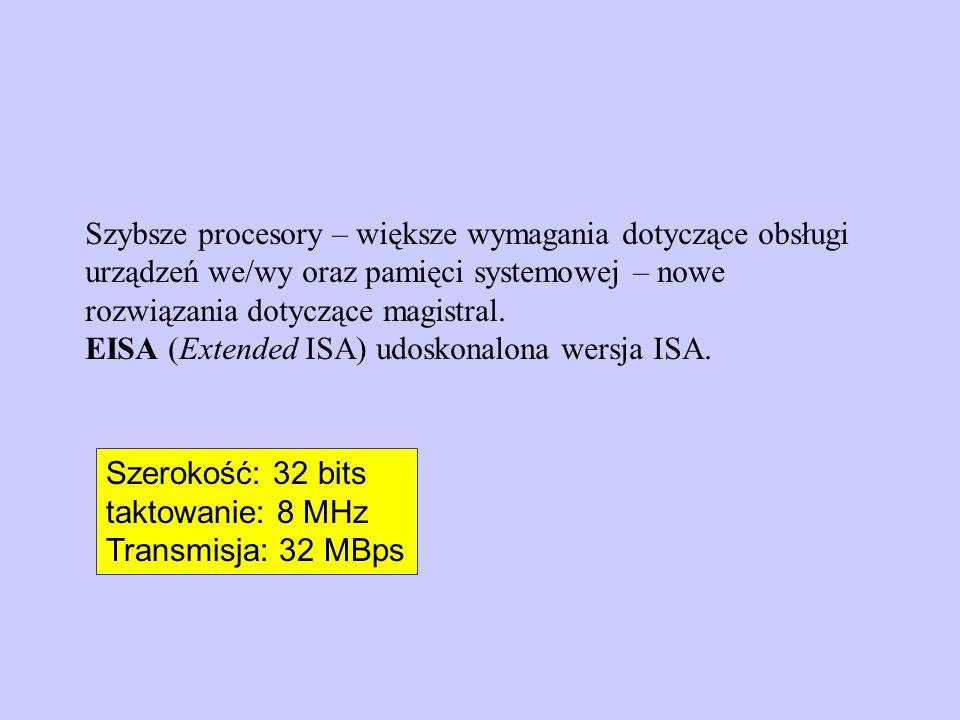 Magistralę systemowa: CPU - RAM Komputer posiada zwykle dwie podstawowe magistrale: Magistralę ISA (lub inną): rozszerzenia – magistrala systemowa Połączenie magistral = mostek (bridge)