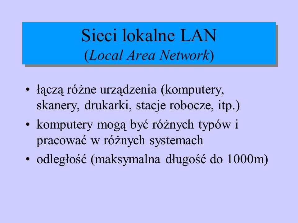 Sieci lokalne LAN (Local Area Network) łączą różne urządzenia (komputery, skanery, drukarki, stacje robocze, itp.) komputery mogą być różnych typów i