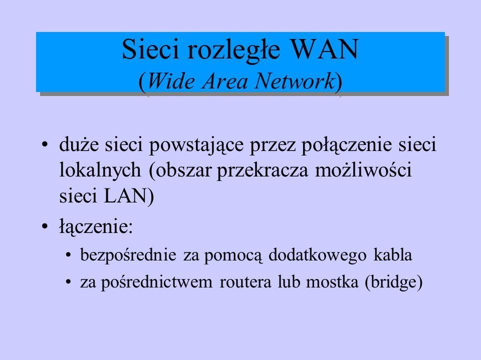 Sieci rozległe WAN (Wide Area Network) duże sieci powstające przez połączenie sieci lokalnych (obszar przekracza możliwości sieci LAN) łączenie: bezpo