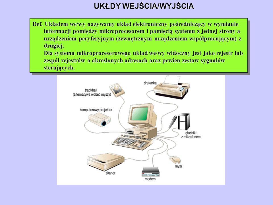 UKŁDY WEJŚCIA/WYJŚCIA Def. Układem we/wy nazywamy układ elektroniczny pośredniczący w wymianie informacji pomiędzy mikroprocesorem i pamięcią systemu