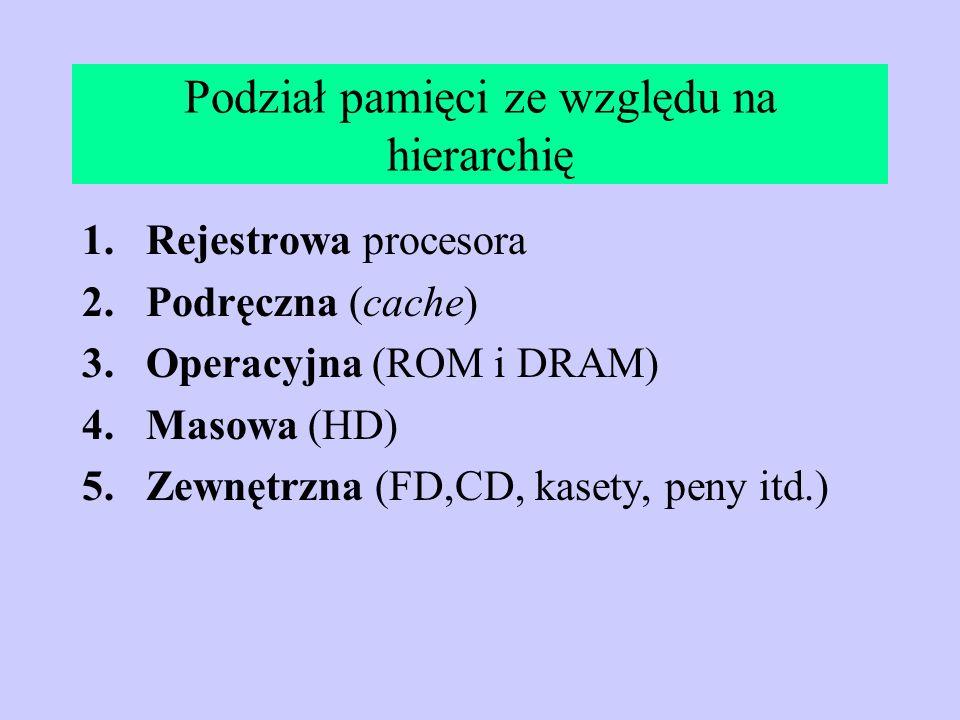 Podział pamięci ze względu na hierarchię 1.Rejestrowa procesora 2.Podręczna (cache) 3.Operacyjna (ROM i DRAM) 4.Masowa (HD) 5.Zewnętrzna (FD,CD, kaset