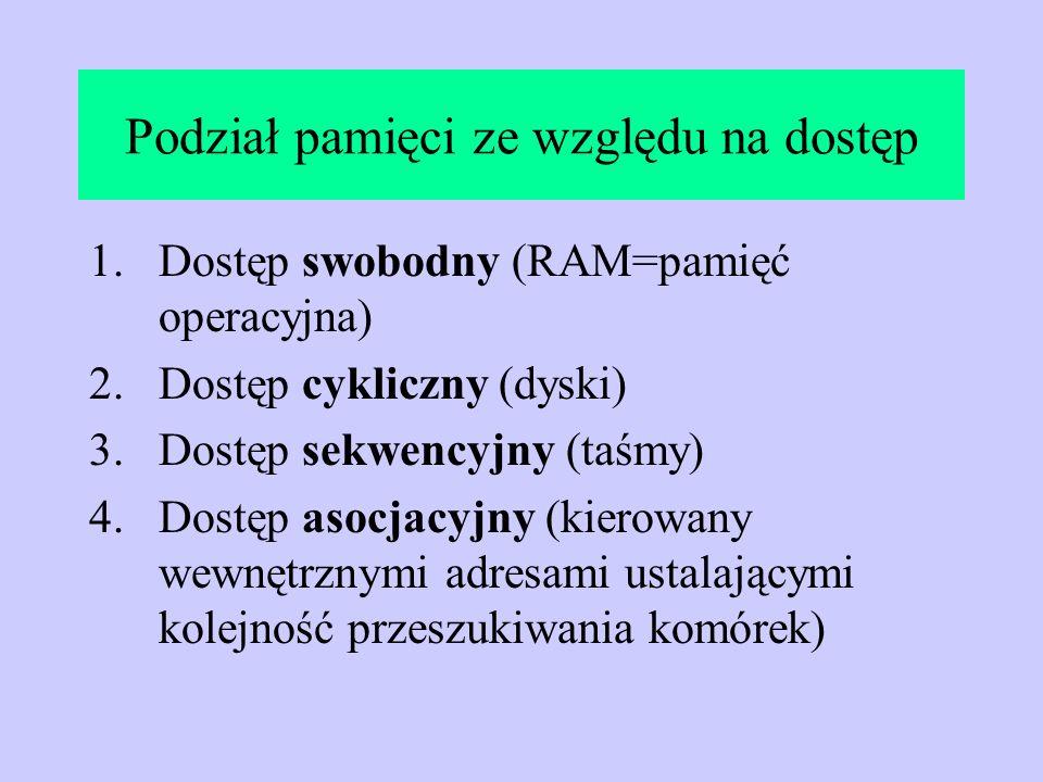 Podział pamięci ze względu na dostęp 1.Dostęp swobodny (RAM=pamięć operacyjna) 2.Dostęp cykliczny (dyski) 3.Dostęp sekwencyjny (taśmy) 4.Dostęp asocja