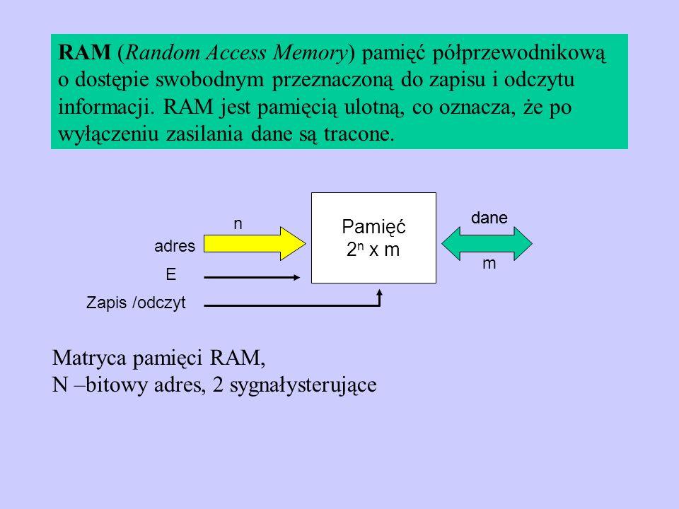 RAM (Random Access Memory) pamięć półprzewodnikową o dostępie swobodnym przeznaczoną do zapisu i odczytu informacji. RAM jest pamięcią ulotną, co ozna