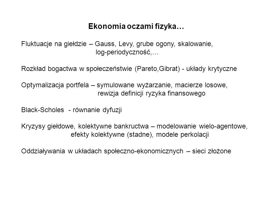 Ekonomia oczami fizyka… Fluktuacje na giełdzie – Gauss, Levy, grube ogony, skalowanie, log-periodyczność,… Rozkład bogactwa w społeczeństwie (Pareto,G