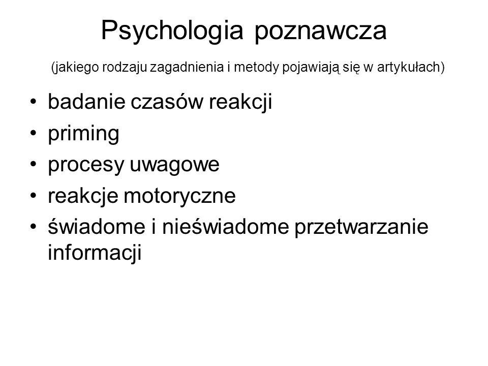 Psychologia poznawcza (jakiego rodzaju zagadnienia i metody pojawiają się w artykułach) badanie czasów reakcji priming procesy uwagowe reakcje motoryc