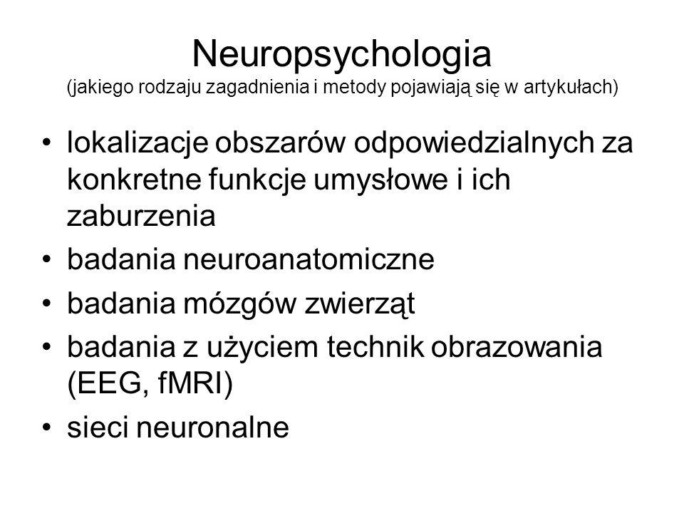 Neuropsychologia (jakiego rodzaju zagadnienia i metody pojawiają się w artykułach) lokalizacje obszarów odpowiedzialnych za konkretne funkcje umysłowe