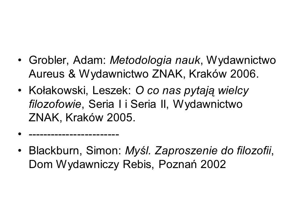 Grobler, Adam: Metodologia nauk, Wydawnictwo Aureus & Wydawnictwo ZNAK, Kraków 2006. Kołakowski, Leszek: O co nas pytają wielcy filozofowie, Seria I i