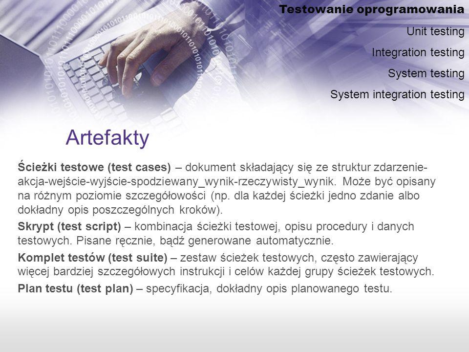Artefakty Ścieżki testowe (test cases) – dokument składający się ze struktur zdarzenie- akcja-wejście-wyjście-spodziewany_wynik-rzeczywisty_wynik.