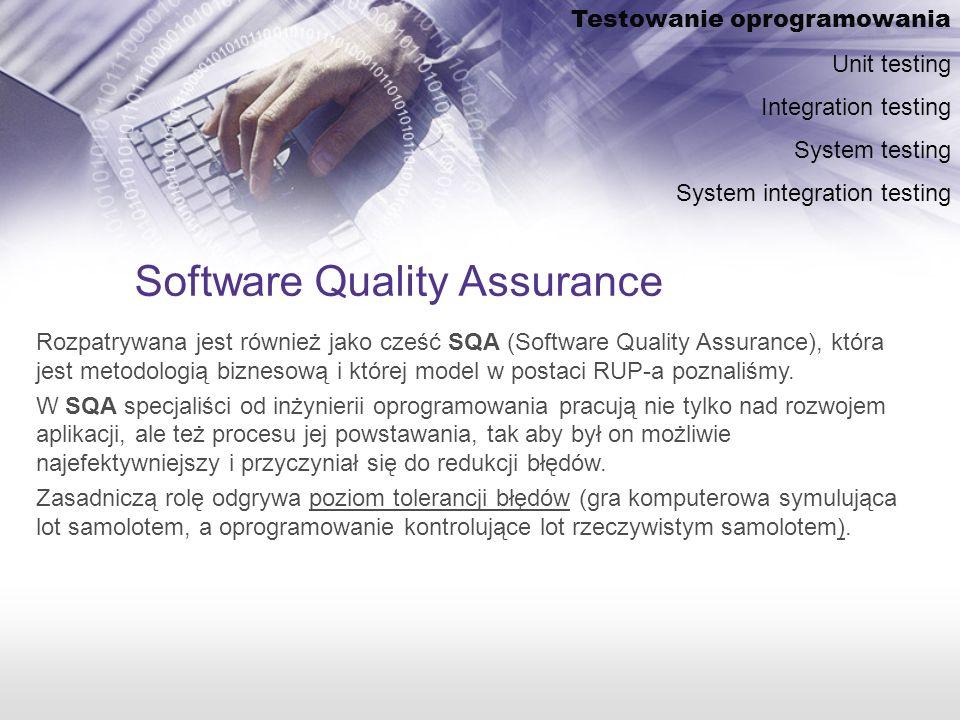 Software Quality Assurance Rozpatrywana jest również jako cześć SQA (Software Quality Assurance), która jest metodologią biznesową i której model w postaci RUP-a poznaliśmy.