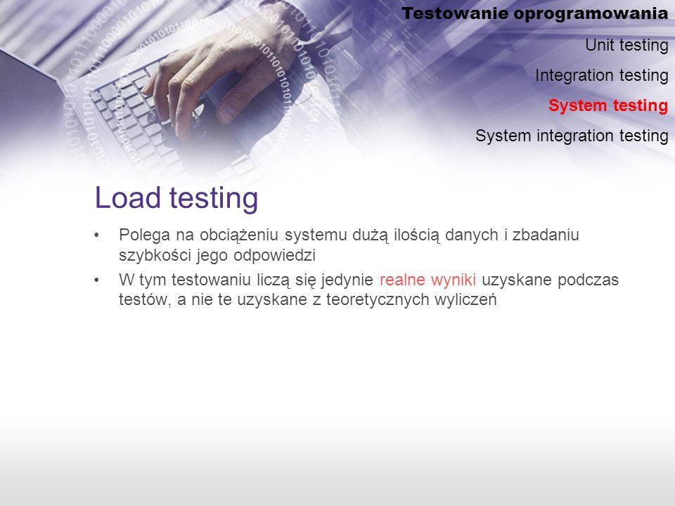 Load testing Polega na obciążeniu systemu dużą ilością danych i zbadaniu szybkości jego odpowiedzi W tym testowaniu liczą się jedynie realne wyniki uzyskane podczas testów, a nie te uzyskane z teoretycznych wyliczeń Testowanie oprogramowania Unit testing Integration testing System testing System integration testing