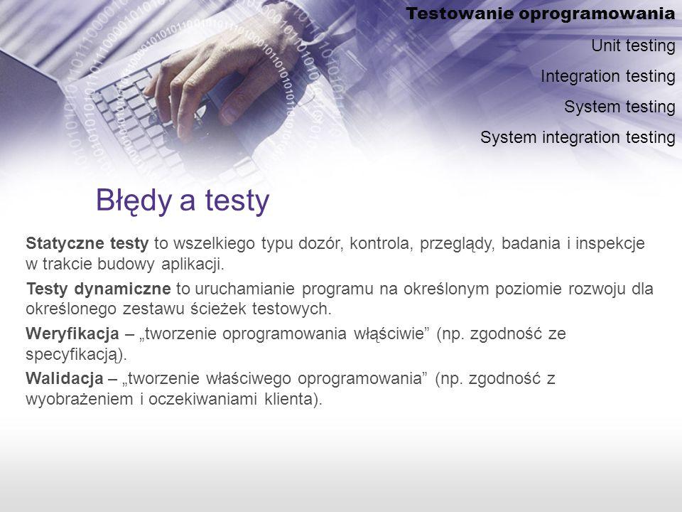 Błędy a testy Statyczne testy to wszelkiego typu dozór, kontrola, przeglądy, badania i inspekcje w trakcie budowy aplikacji.