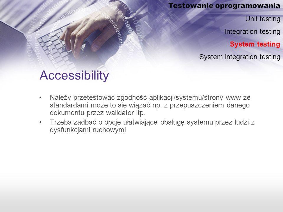 Accessibility Należy przetestować zgodność aplikacji/systemu/strony www ze standardami może to się wiązać np.