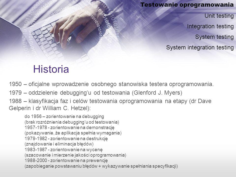 Historia 1950 – oficjalne wprowadzenie osobnego stanowiska testera oprogramowania.