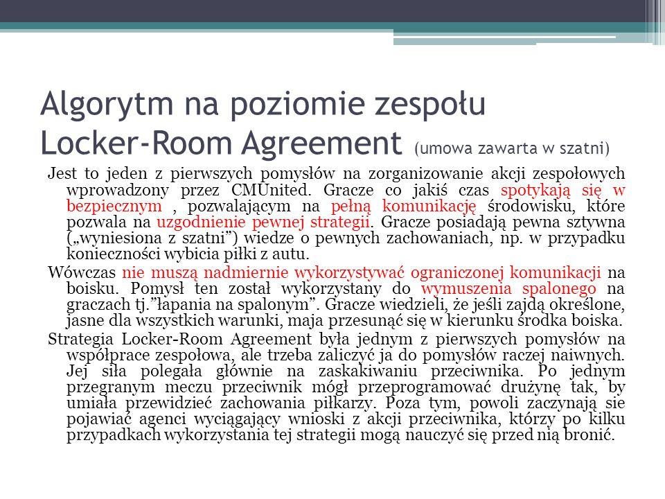 Algorytm na poziomie zespołu Locker-Room Agreement (umowa zawarta w szatni) Jest to jeden z pierwszych pomysłów na zorganizowanie akcji zespołowych wprowadzony przez CMUnited.