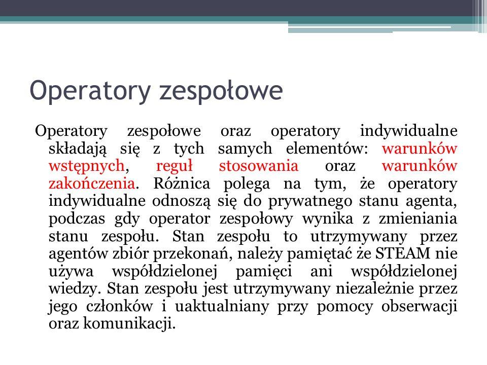 Operatory zespołowe Operatory zespołowe oraz operatory indywidualne składają się z tych samych elementów: warunków wstępnych, reguł stosowania oraz wa
