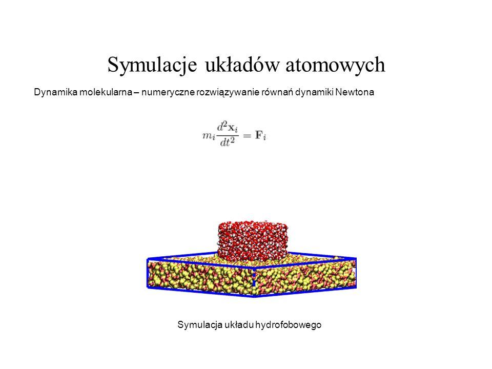 Symulacje układów atomowych Dynamika molekularna – numeryczne rozwiązywanie równań dynamiki Newtona Symulacja układu hydrofobowego