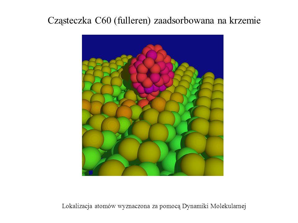 Cząsteczka C60 (fulleren) zaadsorbowana na krzemie Lokalizacja atomów wyznaczona za pomocą Dynamiki Molekularnej