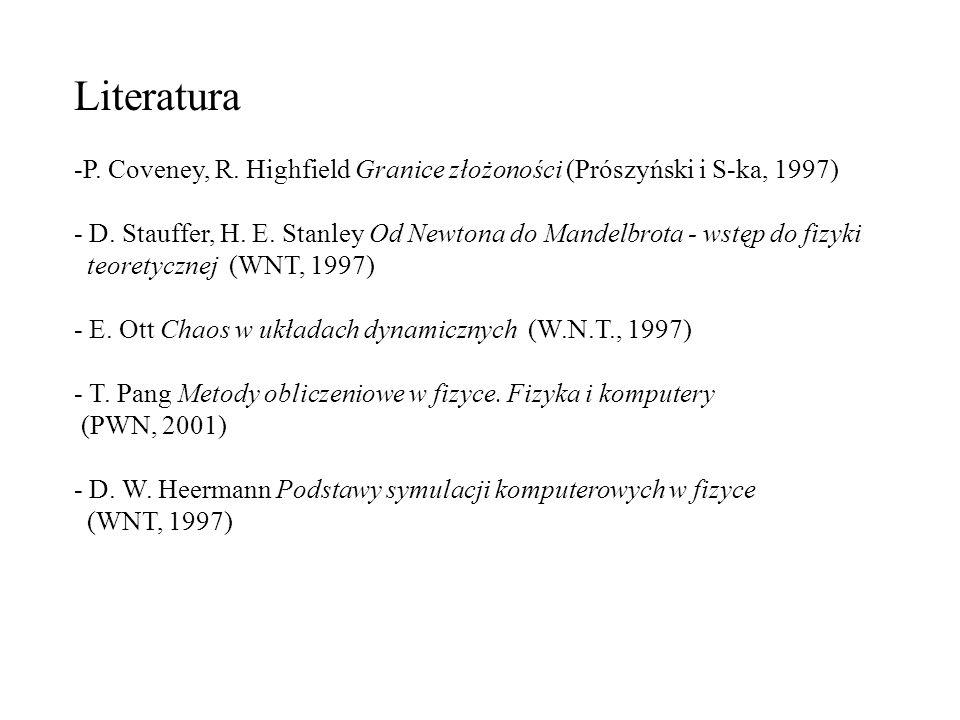 Literatura -P. Coveney, R. Highfield Granice złożoności (Prószyński i S-ka, 1997) - D. Stauffer, H. E. Stanley Od Newtona do Mandelbrota - wstęp do fi