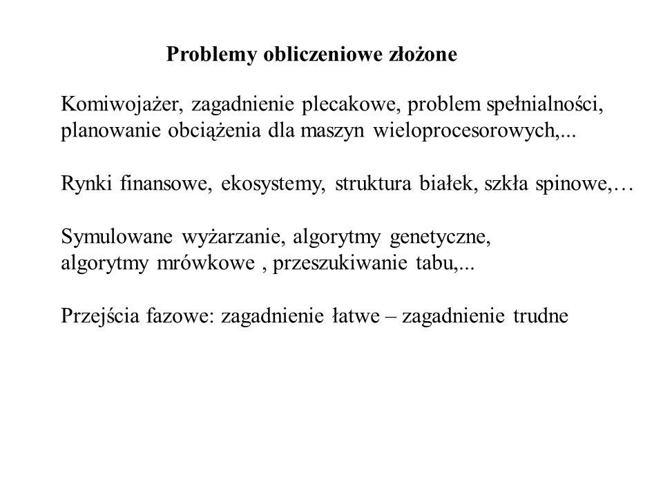Problemy obliczeniowe złożone Komiwojażer, zagadnienie plecakowe, problem spełnialności, planowanie obciążenia dla maszyn wieloprocesorowych,... Rynki