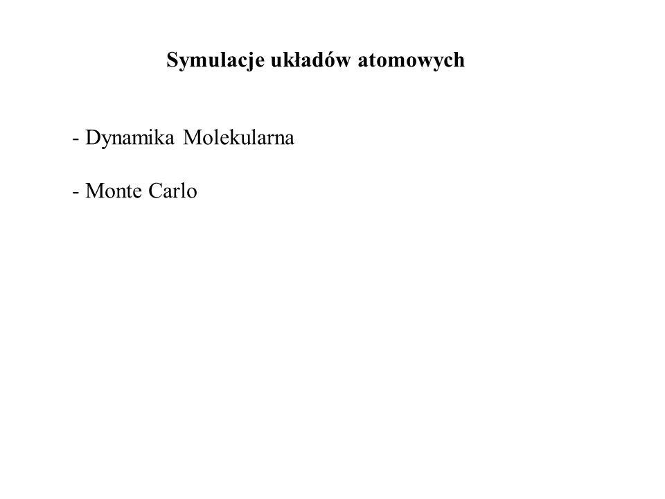 Symulacje układów atomowych - Dynamika Molekularna - Monte Carlo