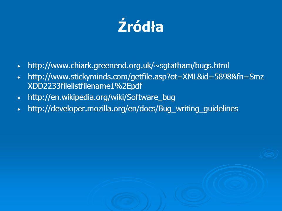 Źródła http://www.chiark.greenend.org.uk/~sgtatham/bugs.html http://www.stickyminds.com/getfile.asp?ot=XML&id=5898&fn=Smz XDD2233filelistfilename1%2Ep