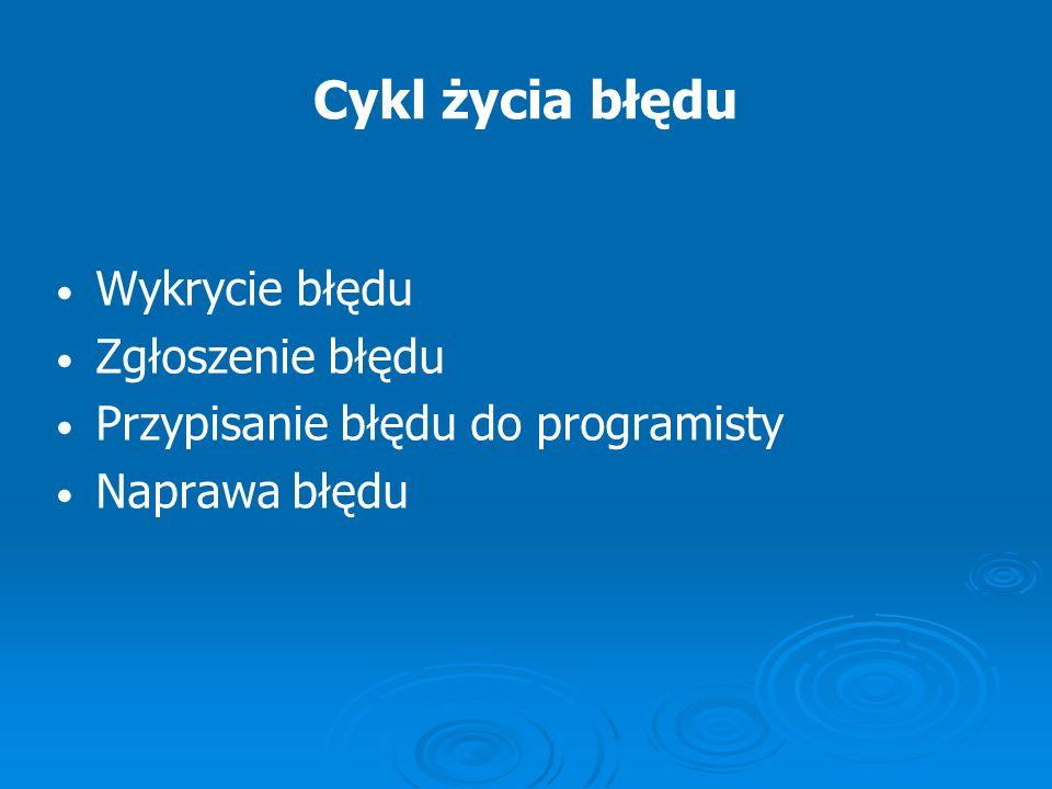 Cykl życia błędu Wykrycie błędu Zgłoszenie błędu Przypisanie błędu do programisty Naprawa błędu