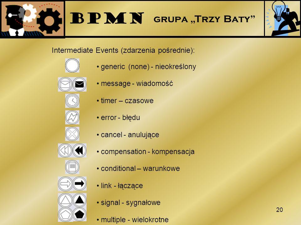 20 Intermediate Events (zdarzenia pośrednie): generic (none) - nieokreślony message - wiadomość timer – czasowe error - błędu cancel - anulujące compe