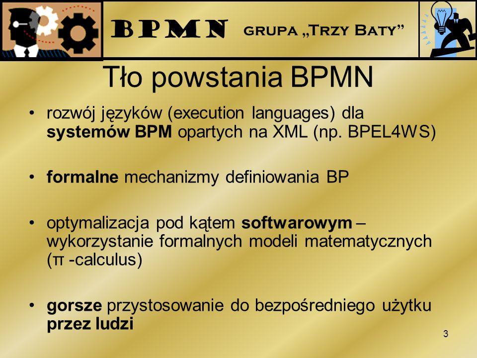 Tło powstania BPMN rozwój języków (execution languages) dla systemów BPM opartych na XML (np. BPEL4WS) formalne mechanizmy definiowania BP optymalizac