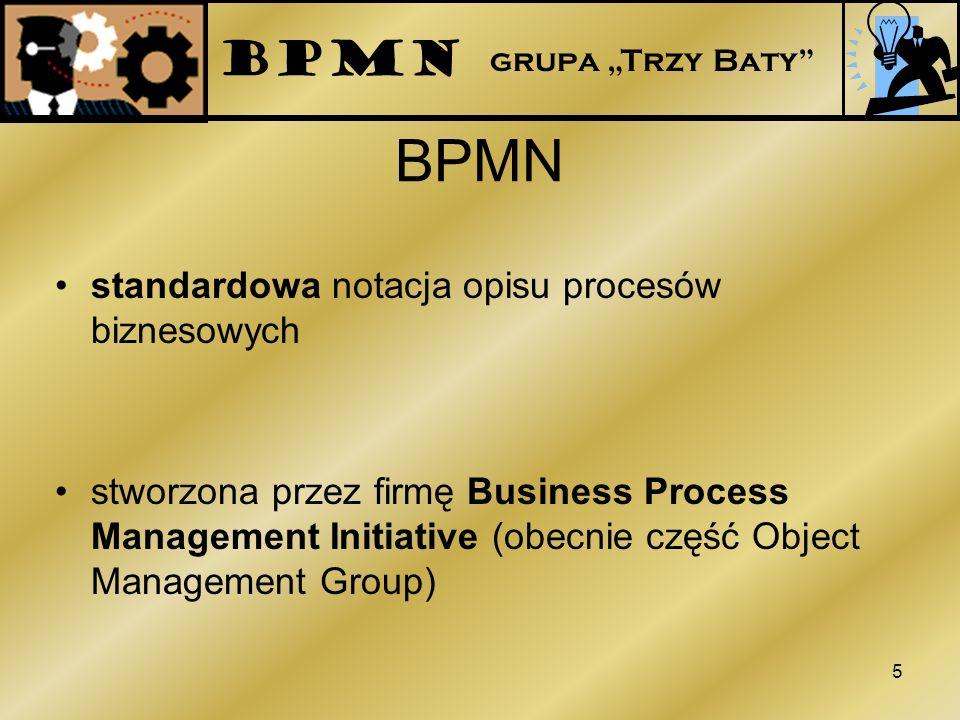 BPMN standardowa notacja opisu procesów biznesowych stworzona przez firmę Business Process Management Initiative (obecnie część Object Management Grou