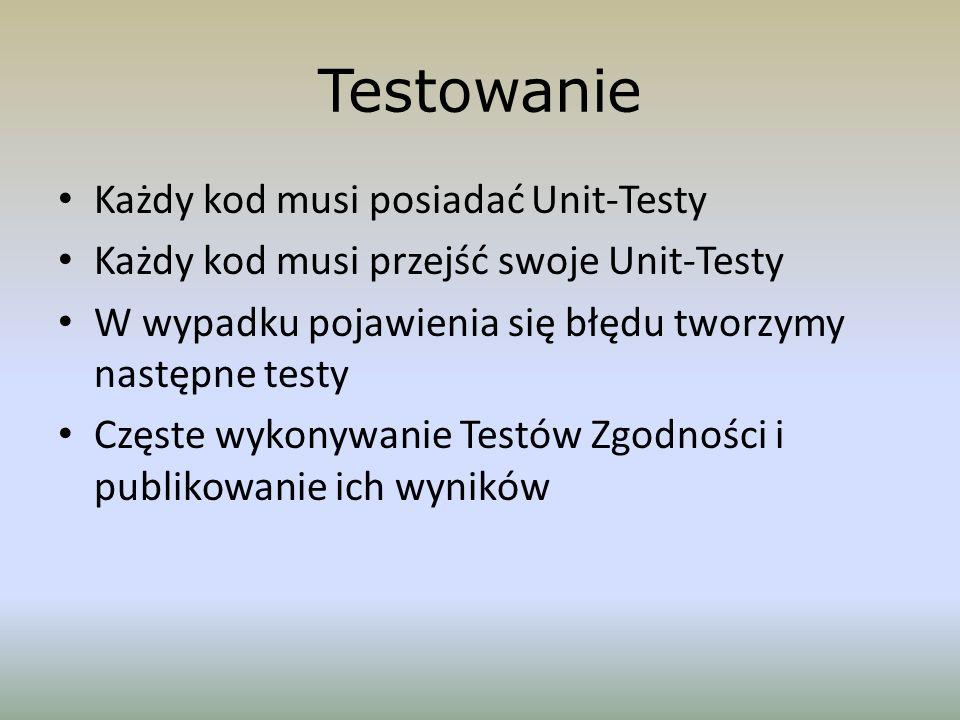Testowanie Każdy kod musi posiadać Unit-Testy Każdy kod musi przejść swoje Unit-Testy W wypadku pojawienia się błędu tworzymy następne testy Częste wy