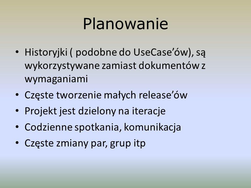 Planowanie Historyjki ( podobne do UseCaseów), są wykorzystywane zamiast dokumentów z wymaganiami Częste tworzenie małych releaseów Projekt jest dziel