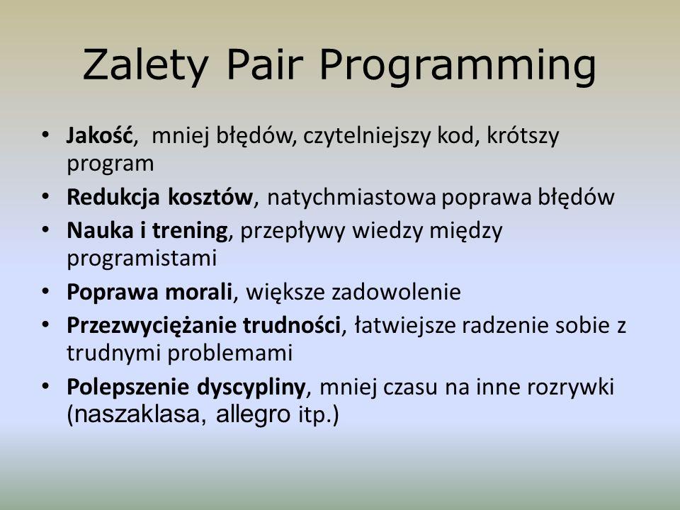Zalety Pair Programming Jakość, mniej błędów, czytelniejszy kod, krótszy program Redukcja kosztów, natychmiastowa poprawa błędów Nauka i trening, prze