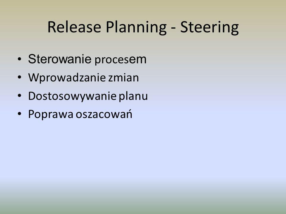 Release Planning - Steering Sterowanie proces em Wprowadzanie zmian Dostosowywanie planu Poprawa oszacowań