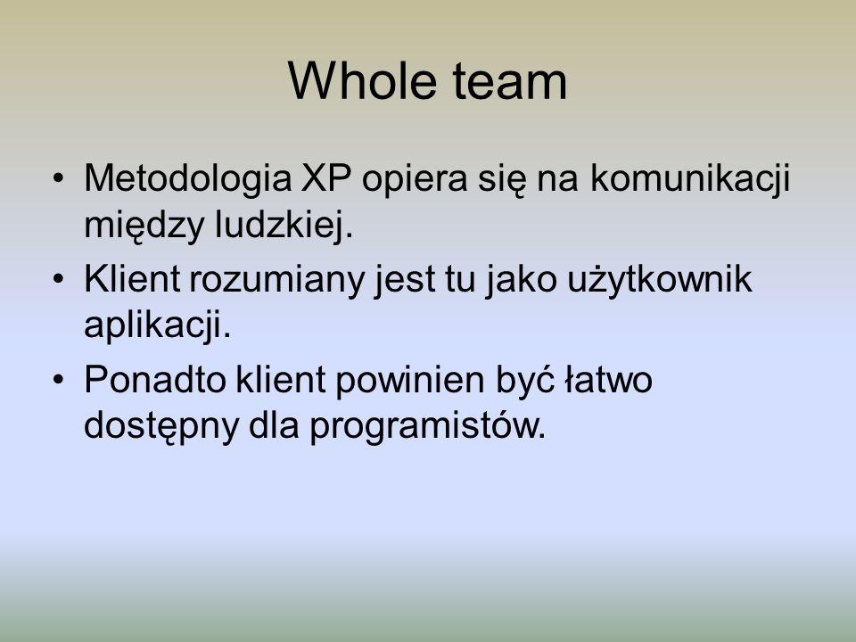 Whole team Metodologia XP opiera się na komunikacji między ludzkiej. Klient rozumiany jest tu jako użytkownik aplikacji. Ponadto klient powinien być ł