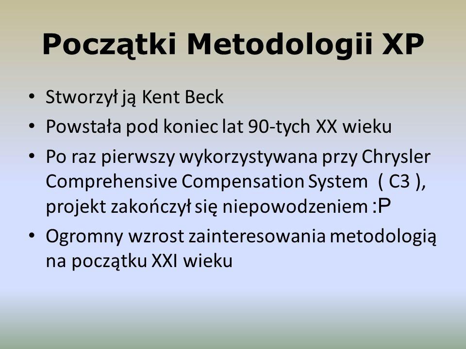 Początki Metodologii XP Stworzył ją Kent Beck Powstała pod koniec lat 90-tych XX wieku Po raz pierwszy wykorzystywana przy Chrysler Comprehensive Comp