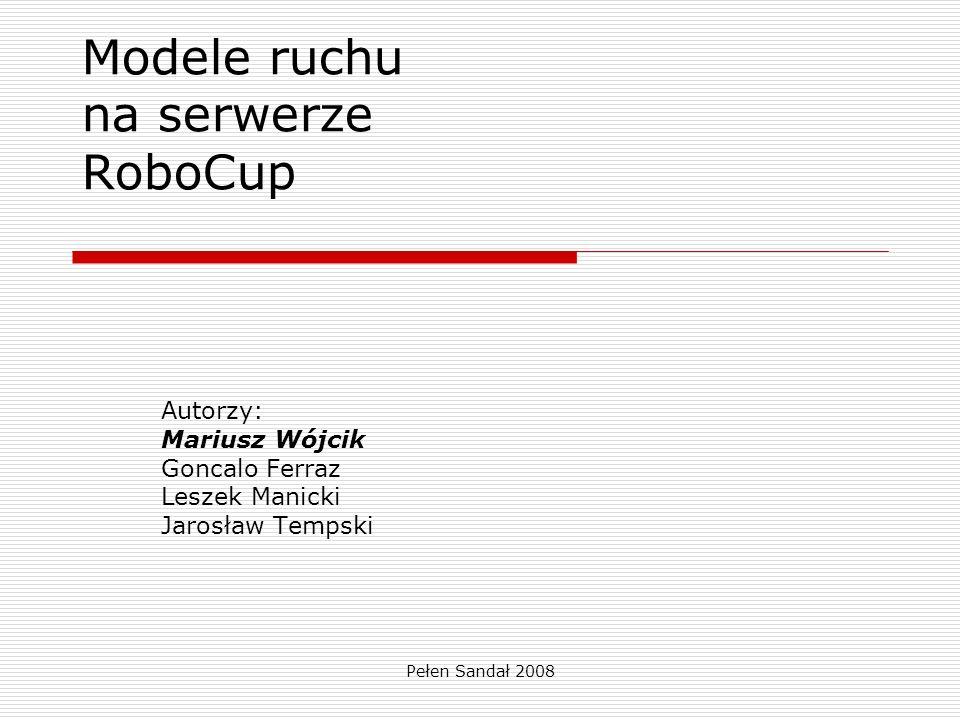 Pełen Sandał 2008 Obiekt w systemie RoboCup RoboCup modeluje ruch piłkarzy i piłki.