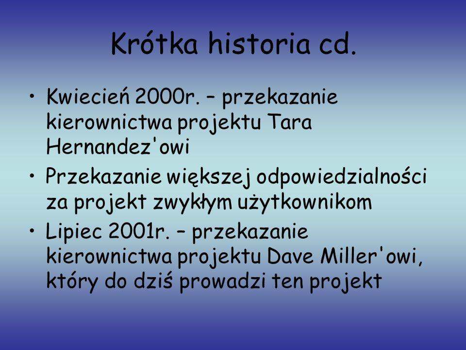 Krótka historia cd. Kwiecień 2000r. – przekazanie kierownictwa projektu Tara Hernandez'owi Przekazanie większej odpowiedzialności za projekt zwykłym u