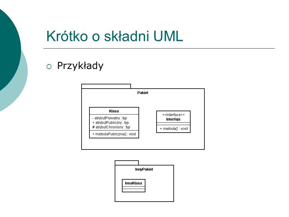 Związki w UML Są to podstawowe bloki konstrukcyjne UML, służące do łącznia elementów Rodzaje związków w języku UML: zależność powiązanie uogólnienie realizacja