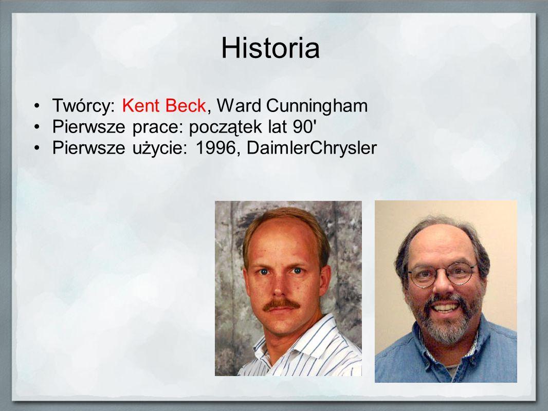 Historia Twórcy: Kent Beck, Ward Cunningham Pierwsze prace: początek lat 90' Pierwsze użycie: 1996, DaimlerChrysler