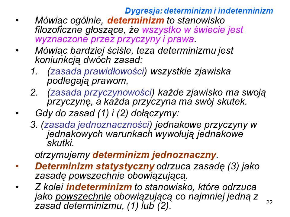 22 Dygresja: determinizm i indeterminizm Mówiąc ogólnie, determinizm to stanowisko filozoficzne głoszące, że wszystko w świecie jest wyznaczone przez