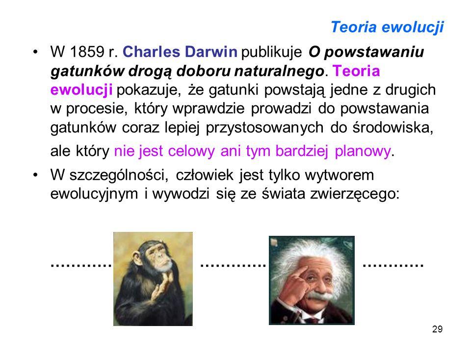 29 Teoria ewolucji W 1859 r. Charles Darwin publikuje O powstawaniu gatunków drogą doboru naturalnego. Teoria ewolucji pokazuje, że gatunki powstają j