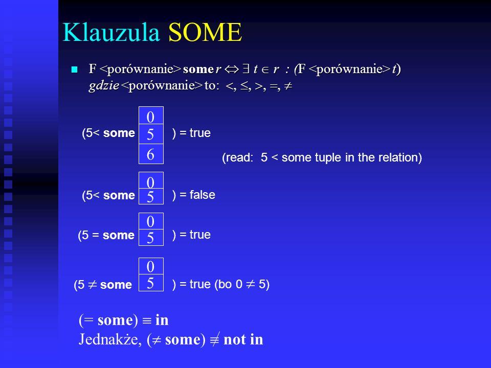 Klauzula ALL F all r t r (F t) 0 5 6 (5< all) = false 6 10 4 ) = true 5 4 6 (5 all) = true (bo 5 4 i 5 6) (5< all ) = false (5 = all ( all) not in Jednakże, (= all) in