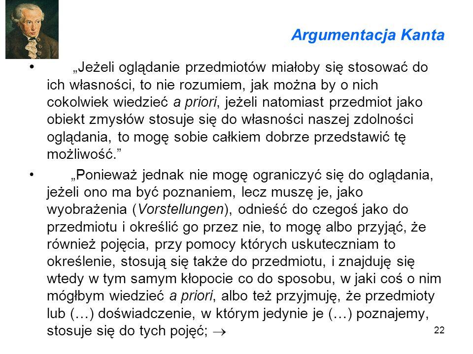 22 Argumentacja Kanta Jeżeli oglądanie przedmiotów miałoby się stosować do ich własności, to nie rozumiem, jak można by o nich cokolwiek wiedzieć a pr