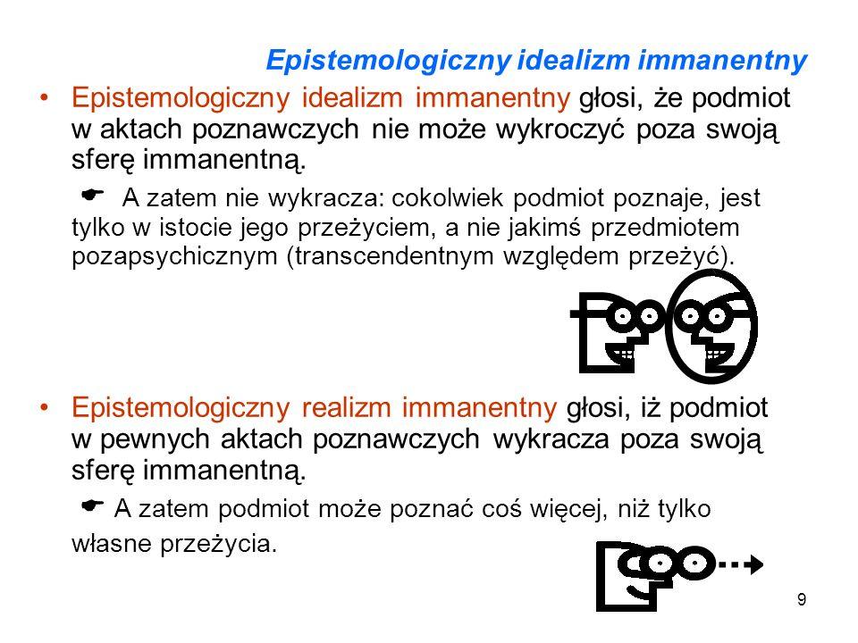 9 Epistemologiczny idealizm immanentny Epistemologiczny idealizm immanentny głosi, że podmiot w aktach poznawczych nie może wykroczyć poza swoją sferę immanentną.