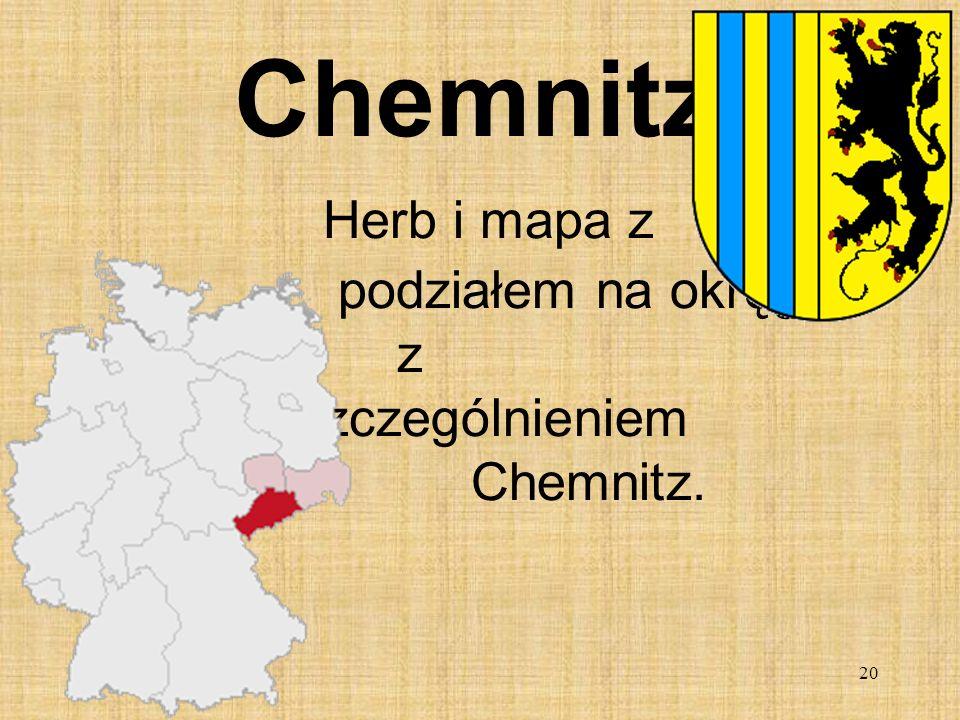 20 Chemnitz Herb i mapa z podziałem na okręgi z wyszczególnieniem Chemnitz.