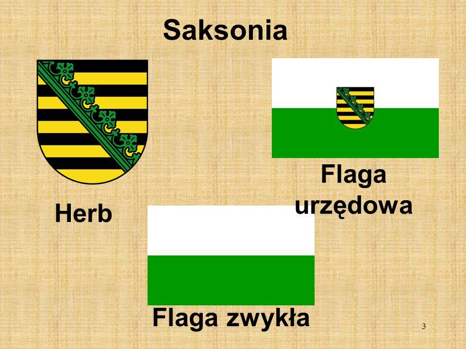 3 Saksonia Herb Flaga urzędowa Flaga zwykła