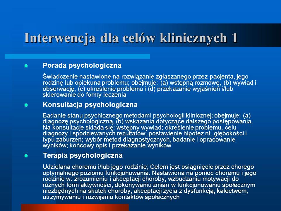 Interwencja dla celów klinicznych 1 Porada psychologiczna Świadczenie nastawione na rozwiązanie zgłaszanego przez pacjenta, jego rodzinę lub opiekuna
