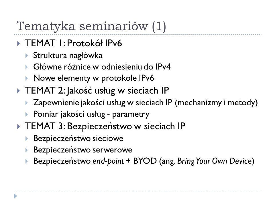 Tematyka seminariów (1) TEMAT 1: Protokół IPv6 Struktura nagłówka Główne różnice w odniesieniu do IPv4 Nowe elementy w protokole IPv6 TEMAT 2: Jakość