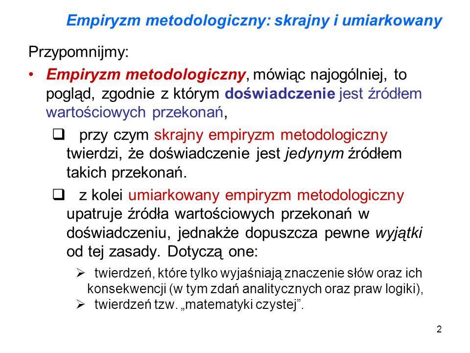 2 Empiryzm metodologiczny: skrajny i umiarkowany Przypomnijmy: Empiryzm metodologiczny, mówiąc najogólniej, to pogląd, zgodnie z którym doświadczenie