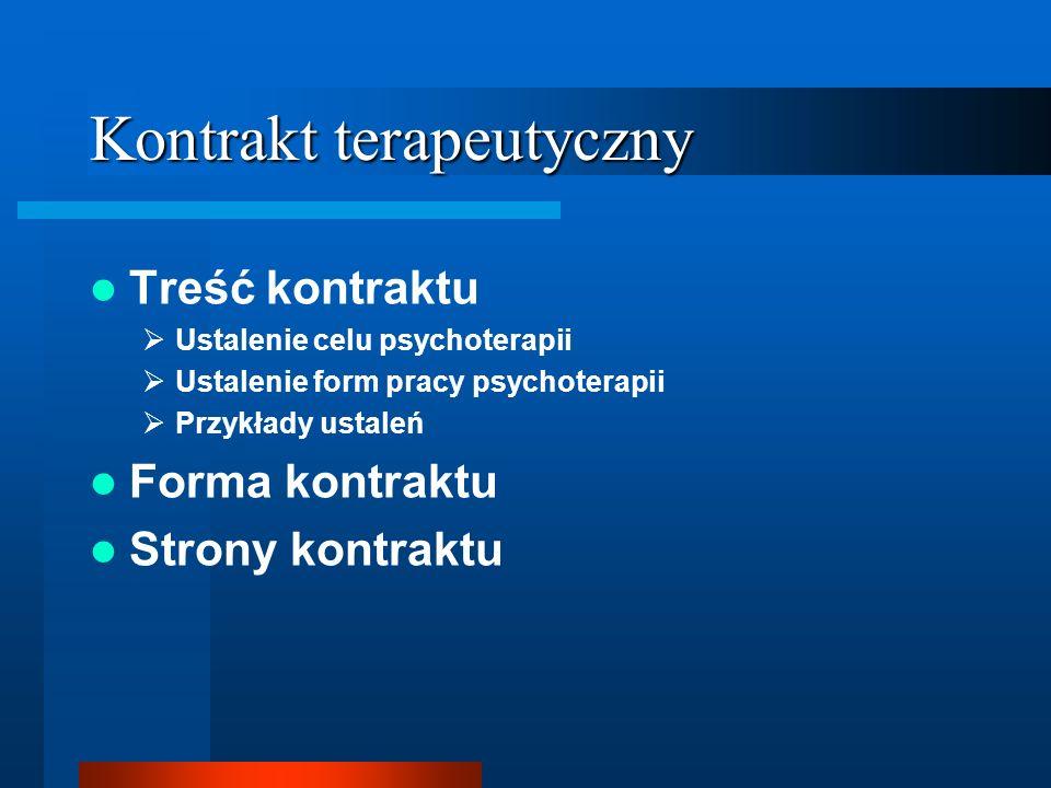 Kontrakt terapeutyczny Treść kontraktu Ustalenie celu psychoterapii Ustalenie form pracy psychoterapii Przykłady ustaleń Forma kontraktu Strony kontra